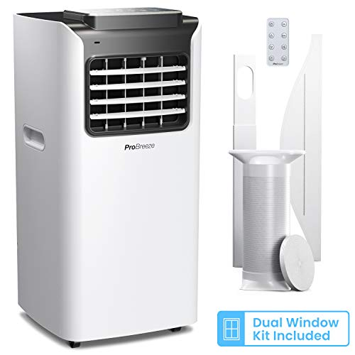 Pro Breeze™ 4-in-1 Mobile Klimaanlage mit 7000 BTU - Luftkühler, Ventilator, Luftentfeuchter, Nachtmodus - Klimagerät mit Energieklasse A, Fensterabdichtung Set, Fernbedienung und 24h Timer