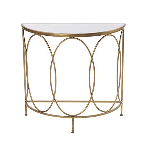 N/Z Daily Equipment Coffee Table for Living Room Side Table End Table Creative Storage Shelf Semicircle Marble Top Metal Frame for Living Room or Balcony