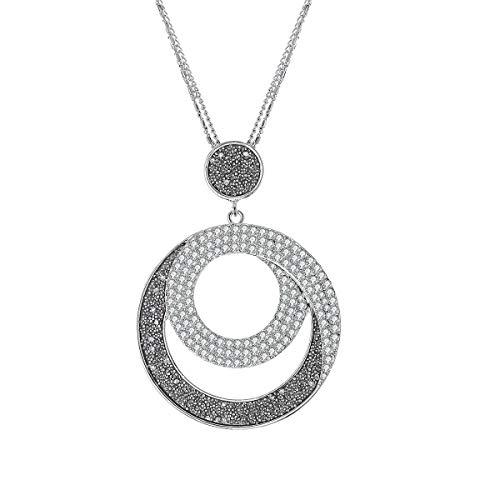 Collana pendente con ciondolo per donna, collana lunga in argento oro con collana nera con diamanti e cristallo per i migliori amici (Sole e Luna, Placcato argento)