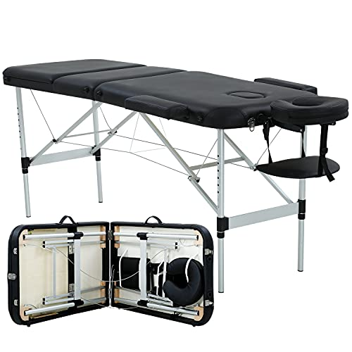 Massage Table Portable and foldable aluminum massage bed 73 Inch Long Height Adjustable 3 Folding Massage Table PU leather Tattoo Salon Bed w/Face Cradle, Black