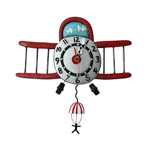 Allen Designs, Reloj para colgar con forma de avión y paracaidista, Enesco