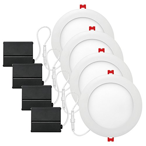 Globe Electric 6' LED Integrated Ultra Slim Recessed Lighting Kit 4-Pack, 12 Watts, Energy Star, IC Rated, Dimmable, Wet Rated, Fixed Flood, White Finish, 91126