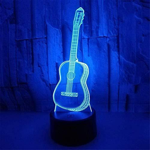 Luz de noche para niños 3D guitarra ilusión lámpara con control remoto 16 colores cambiantes Navidad Halloween regalo de cumpleaños para niño niña