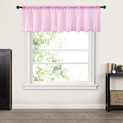 MIULEE Window Valance Half Window Sheer Curtains Rod Pocket Semitranslucent Voile Drapes Extra Wide for Small Window Kitchen Cafe One Panel 60 x 18 Inch Pink