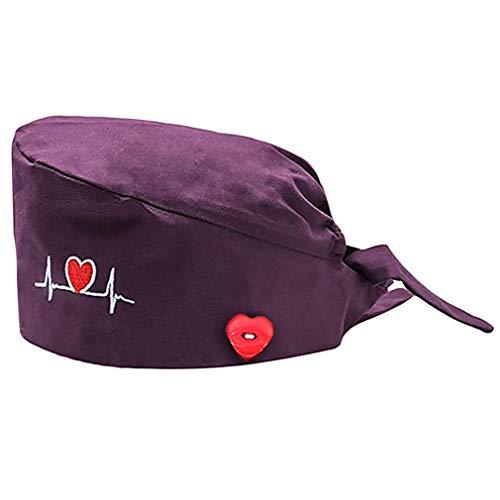 Hut für Krankenschwestern, lang, aus Baumwolle, mit Liebes-Aufdruck, unisex, staubdicht, verstellbar, waschbar, Violett One size