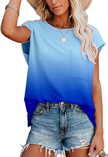 Ancapelion Damen Casual T-Shirt Kurzarm Sommer Tops Lose Oberteile Rundhals Basic Bluse mit Tasche Farbverlauf blau XXL