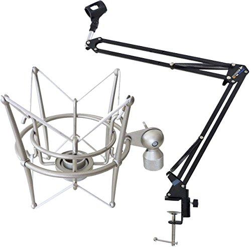 keepdrum NB35 Mikrofonstativ Tisch-Mikrofonarm Schwenkarm + MS089SV Mikrofon-Spinne Silber für G-Track