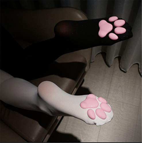 Katzenfleischkissen Cos Kniestrümpfe Katzenstrümpfe Pfotensocken Lolita Overknee Socken 3D Pink Katzenpfote Niedliches Kätzchen Strumpf Oberschenkel Hohe Socken für Mädchen (Weiß)