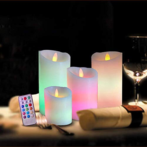 YLLN XXLYY 4pcs Flameless Candles with Remote Control Battery Operated Led Flickering Pillar Candles for Christmas Wedding Party Home Table Centerpiece