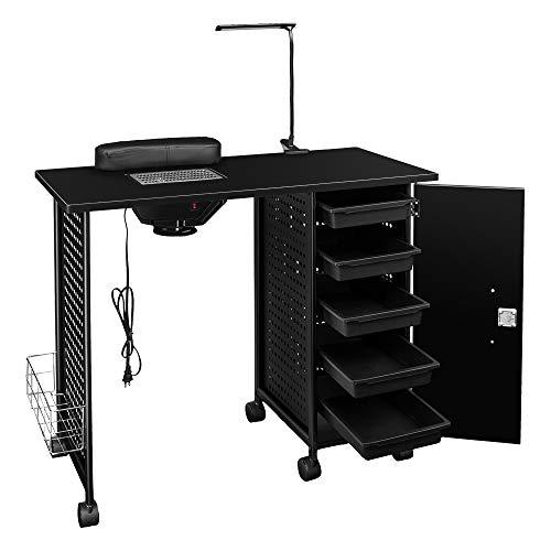 SSLine Manicure Nail Table Station with LED Lamp,Manicure Table Nail Beauty Spa Salon Desk Workstation Iron Frame,Nail Art Desk Workstation with Electric Downdraft Vent, Cabinet, Side Basket