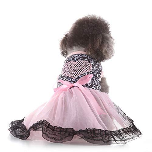 YWLINK Party Hochzeit Kleid Creative Sexy Spitze Patchwork Haustier Liebesherz Rock Haustier Hunde Elegant Bow KostüMe(Rosa,M)
