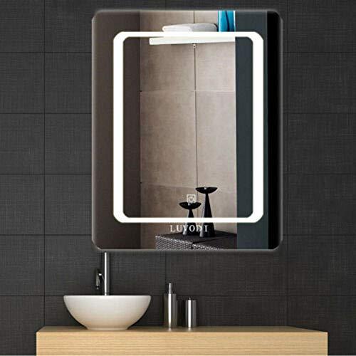 LUVODI Badspiegel mit Beleuchtung, LED Badezimmerspiegel 40 x 50cm, Bad LED Spiegel, Lichtspiegel mit Touchschalter Kosmetikspiegel Wasserdicht IP44 energiesparend