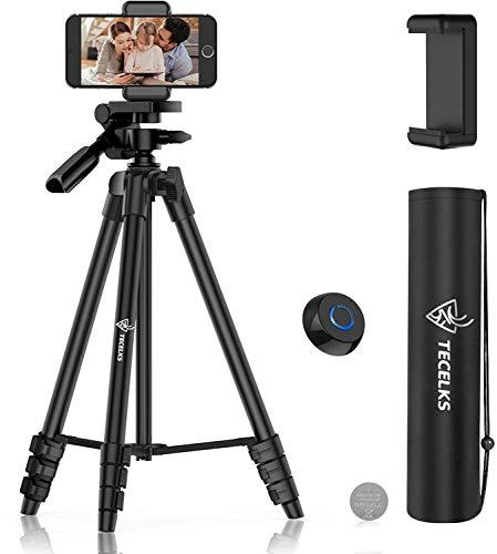 Leichter Stativ 55-Zoll-, Reise- / Video- / Telefon- / Kamera-Stativständer mit Bluetooth-Fernbedienung, Telefonclip, Tragetasche und Ersatzakku für Reisen/YouTube-Video/Fotografie/Vlog