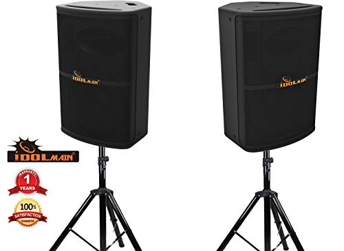 Find Discount IDOLmain IPS-P10 1600W 12 High Output Full Range Karaoke Loudspeaker With Stands NEW