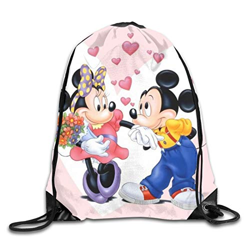 Cartoon Mickey Mouse Casual Beam Mouth Backpack Drawstring Daypack Schoolbag For Kids Adults Travel And Leisure Sports Backpack Lightweight Gym Yoga Sackpack