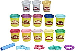 Play-Doh Bulk Mermaid Colors 13-Pack of Non-Toxic Modeling Compound with Sparkle and Metallic Colors Plus 5 Tools...