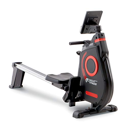 CIRCUIT FITNESS Circuit Fitness Foldable Magnetic Rowing Machine for Cardio and Body Building Exercise - Red/Bluetooth
