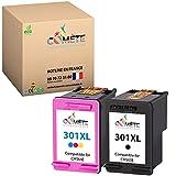 COMETE - 301XL 2 Cartouches d'encre Compatible avec HP 301 XL (CH563E + CH564E) pour imprimante HP Deskjet 1000 1010 1050 1510 1512 2050 2050A 2510 2540 3050 Envy 4500 4502 4503 Officejet 2620