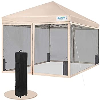 Quictent 10x10 Easy Pop up Canopy Tent Screened with Mosquito Netting Instant Gazebo Screen House Room Tent Waterproof Roller Bag & 4 Sand Bags Included Tan