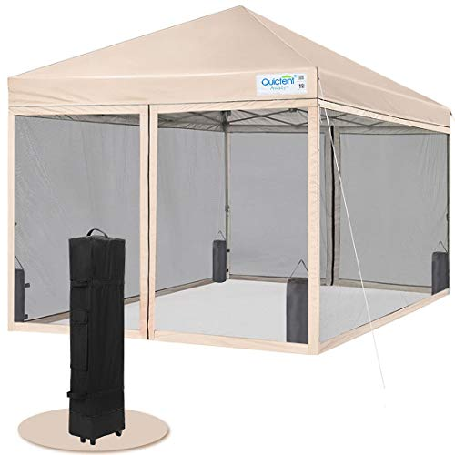 Quictent 10x10 Easy Pop up Canopy Tent Screened with Mosquito Netting Instant Gazebo Screen House Room Tent Waterproof, Roller Bag & 4 Sand Bags Included(Tan)