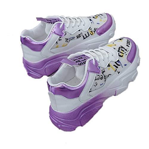 Zapatillas de Deporte para Mujer, Zapatos Gruesos, Pintura Transpirable, Zapatos Casuales, con Cordones, Antideslizantes, Zapatos Deportivos de Moda, Zapatillas de Deporte