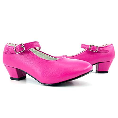 Zapatos Sevillanas Nia Fucsia Disfraz Flamenca Tallas Infantiles 22 a 35 [Talla 30] Zapatos Tacn Baile Flamenco Colores