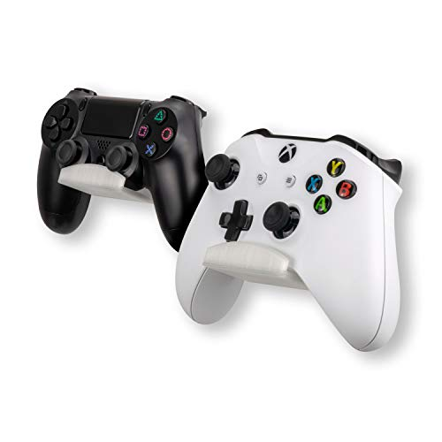 Frosty Edition Universal Gamer Controller Wall Mount Stand Holder (2 Pack) for XBOX ONE 360 PS4 PS3 SWITCH STEAM STEELSERIES PC GAMEPAD & More, No Screws, Stick on, VHB Adheadsive, by Brainwavz (UGC1)