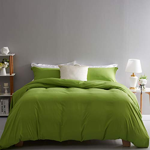 Duvet Cover Set King Size Olive Green 3 Piece Bedding Set 100% Brushed Microfiber with Button Closure,Corner Ties(1 Duvet Cover,2 Pillowcases) 106x90Inches