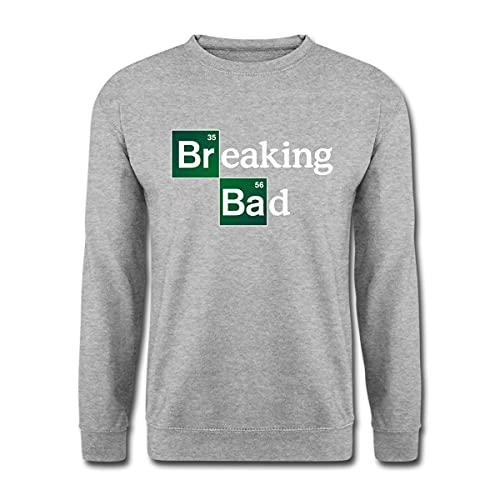 Spreadshirt Breaking Bad Logo Brom & Barium Unisex Pullover, L, Weißgrau meliert