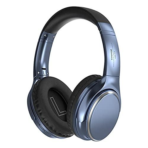 XJPB Auriculares de cancelación de Ruido Activo Auriculares Bluetooth inalámbricos con micrófono Bajo Profundo sobre Orejas de proteína Liviana,Azul