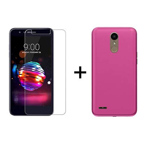 TBOC Pack: Rosa Gel TPU Hülle + Hartglas Schutzfolie für LG K10 (2018) - LG K11 (5.3 Zoll) - Superdünn Flexibel Silikonhülle. Panzerglas Bildschirmschutz in Kristallklar in hohe Qualität.