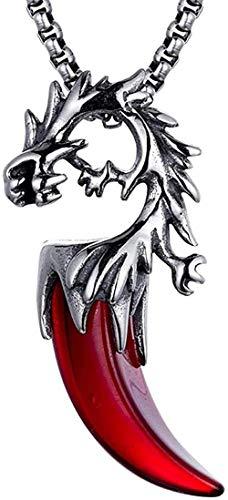 NC110 Collar Collares para Hombre Collar de Acero de Titanio para Hombre Collar de Diente con Punta de Grifo Colgante de Acero Inoxidable con Personalidad