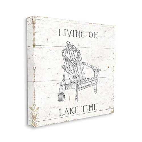 Stupell Industries Living On Lake Time Chair and Paddle Country Word, Design von Daphne Brissonnet Wall Art, 17 x 17 cm