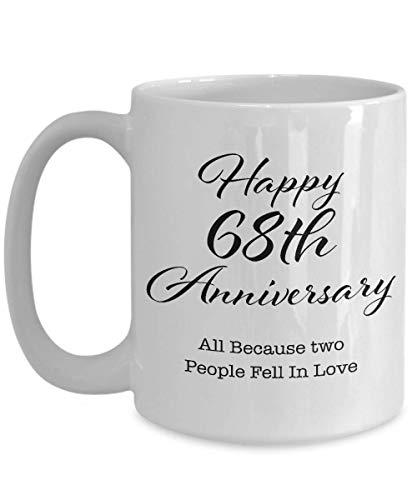 Regalo de aniversario de 68 años para hombres, su pareja, esposo, esposa, padres, él, mujeres, novio, novia, feliz 68a boda, taza de café