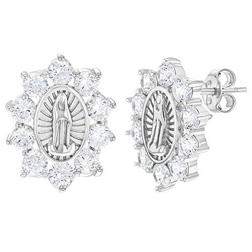 Pendientes de tuerca para mujer, chapados en rodio, circonitas transparentes, diseño de Nuestra Señora de Guadalupe