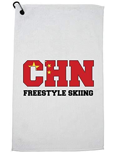 Hollywood Thread Chinese Freestyle Skiën - Winter Olympisch - CHN Flag Golf Handdoek met Karabijnhaak Clip