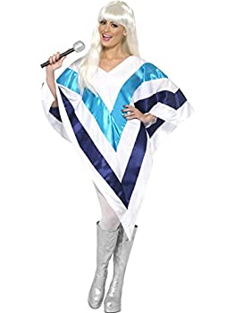 ABBA Poncho for 70s, 80s, Super Trouper Look. Low Cost Costume for Women. One Size Easy Fit.