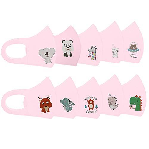 riou 10 pcs Kinder Mundschutz Waschbar Wiederverwendbar Baumwolle Atmungsaktive Staubdicht Mund und Nasenschutz Halstuch für Jungen und Mädchen (Pink)