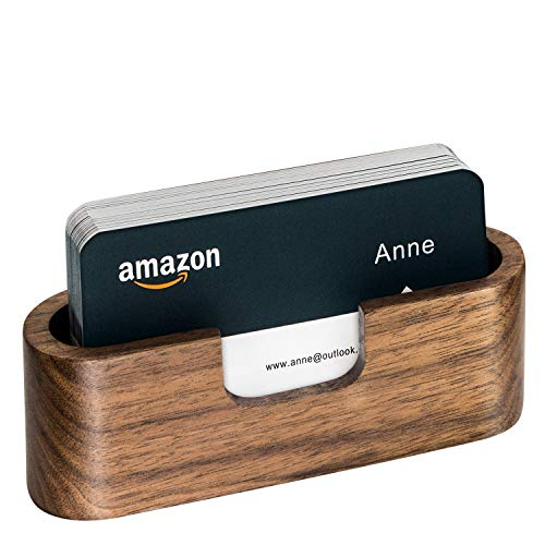 Padike Business Card Holder Wood Business Card Holder Desk Business Card Display Holder Walnut Cards Case for Desk Wooden Name Card Stand for Tables (Oval)