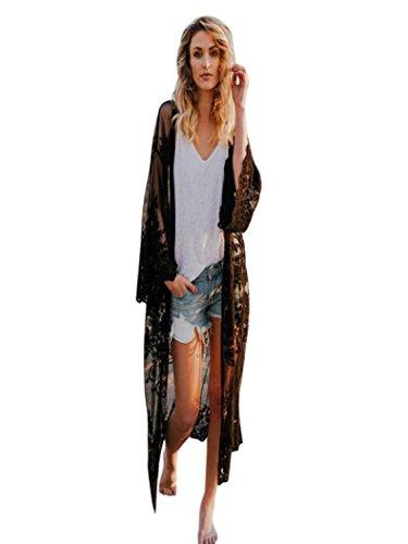 Longra dames cardigan kant Bohemian strand lange mouwen Kimono bloemenjas Kimono vooraan open bovenkant cardigan strandjurk kant haak mode
