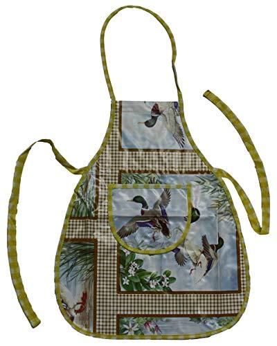 Werkenschürze abwaschbare Latzschürze Schürze aus Wachstuch Motiv Enten, Größe:XL