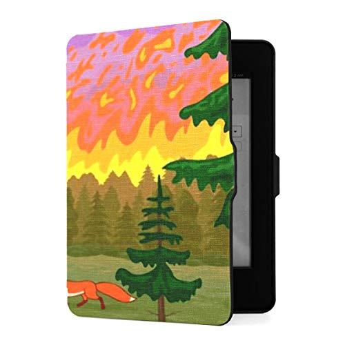 Funda para Kindle Paperwhite 1 2 3, funda de piel sintética para desastres naturales de animales que huyen de incendios forestales con despertador automático inteligente para Amazon Kindle Paperwhite