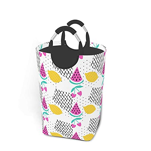 IUBBKI Lemon Color Art Special Laundry Hampers Clothes Basket Compact Collapsible Foldable Bag Home Dorm Decor Square Nursery Room Toy Organizer Dirty Garment Storage Portable Handle Narrow