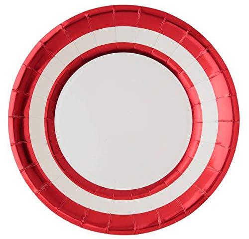 Santex Noel - 10 Assiettes en Carton Ronds Rouge métallisé