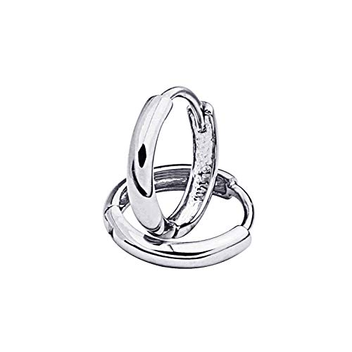 14k White Gold 1.5mm Thickness Huggie Earrings (8 x 8 mm)