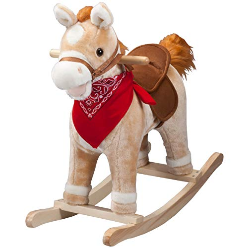 Sale!! Animated Rocking Horse with Sounds, Plush Ride-On Pony with Wooden Base