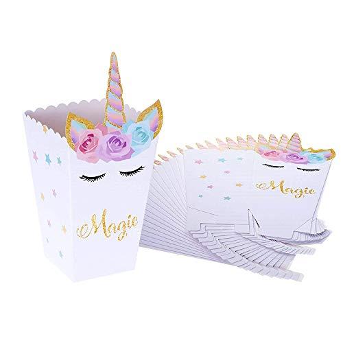Popcorn Boxen, INTVN Einhorn Popcorn Schachtel Süßigkeiten Boxen Treat Candy Boxes für Kinder Geburtstag Party Supplies, 24 Stück