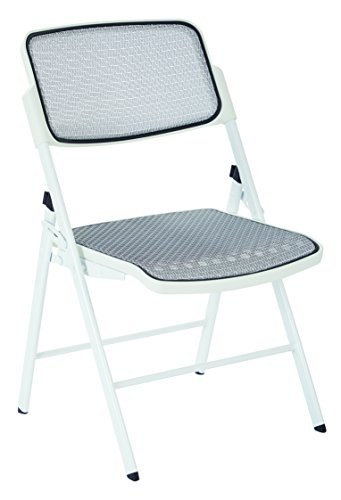 Office Star ProGrid Mesh Seat and Back Folding Chair, White, 2-Pack