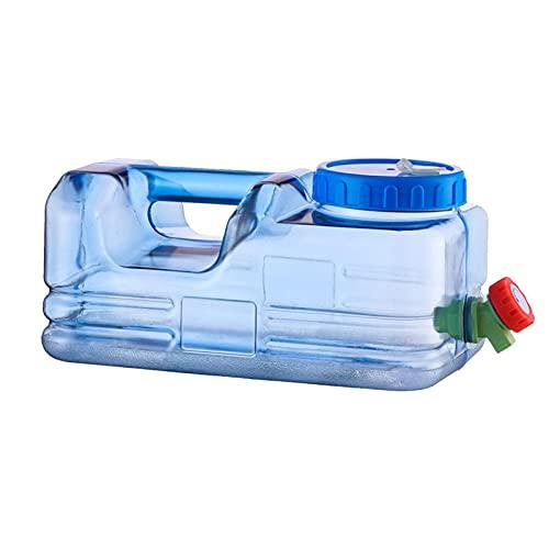 Ishine Contenedores de almacenamiento de agua de 10 l de 2,6 galones de gran capacidad contenedor de agua transparente para camping con grifo cubo de almacenamiento de agua