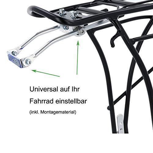 SCHOBERG Fahrrad Gepäckträger HINTEN Alu verstellbar für 24, 26, 28 Herren und Damen Fahrrad Universalbefestigungsset, schwarz max. Zuladung 25kg - 4